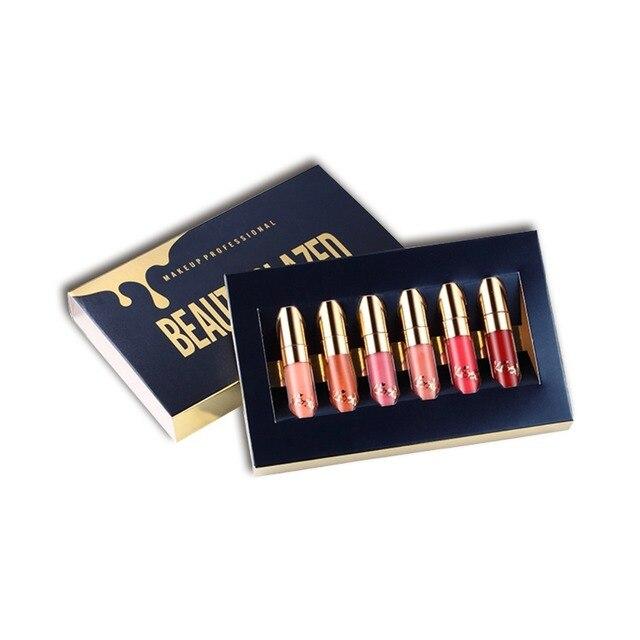 Belleza glaseada impermeable lápiz labial mate brillo de labios fácil de usar maquillaje brillo de labios de larga duración 6 colores conjunto de maquillaje