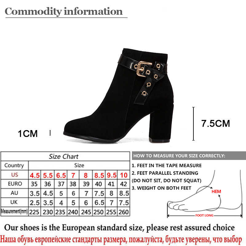 Gdgydh Büyük Boy 48 Akın Yüksek Topuklu yarım çizmeler Için kadın ayakkabısı Kadın Süet Deri Seksi Perçin Blok Topuk Fermuar Sonbahar Ayakkabı