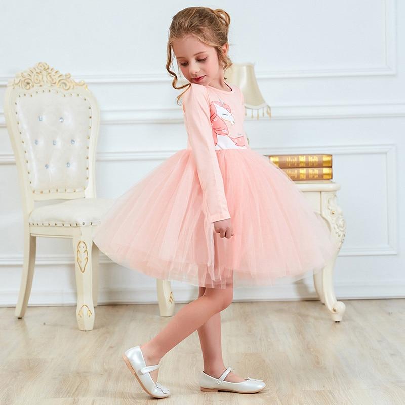 a12608f4e7c Праздничные платья для праздничное платье для девочки платье Единорог  вечерние Bithday костюм из хлопка с длинными