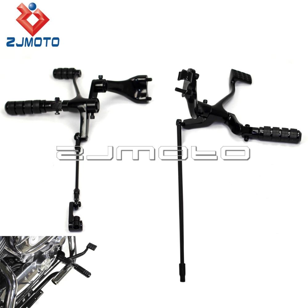 ZJMOTO Black Motorbike Footpeg Steel Forward Control Kits