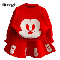 Berngi Girl Clothing Sets 2017 Autumn New Style Girls Cartoon Animal Monkey Long Sleeved Sweater Knitted