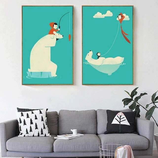 Polar Penguin And Child Flying A Kite Fishing Canvas Painting For Nursery Baby Kids Room Decor
