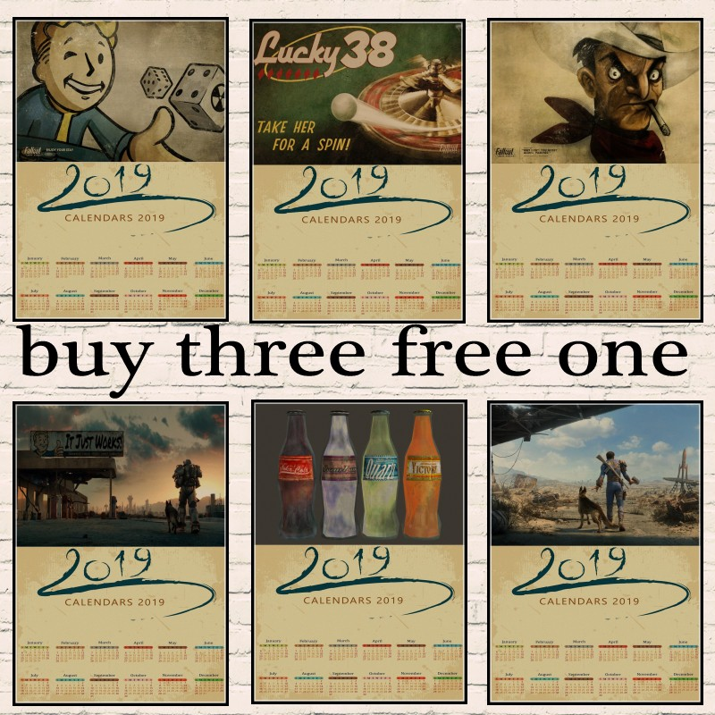 Fallout Series Game retro 2019 calendar Poster Retro Kraft Paper Bar Cafe Home Decor Painting Wall Sticker 22 style image