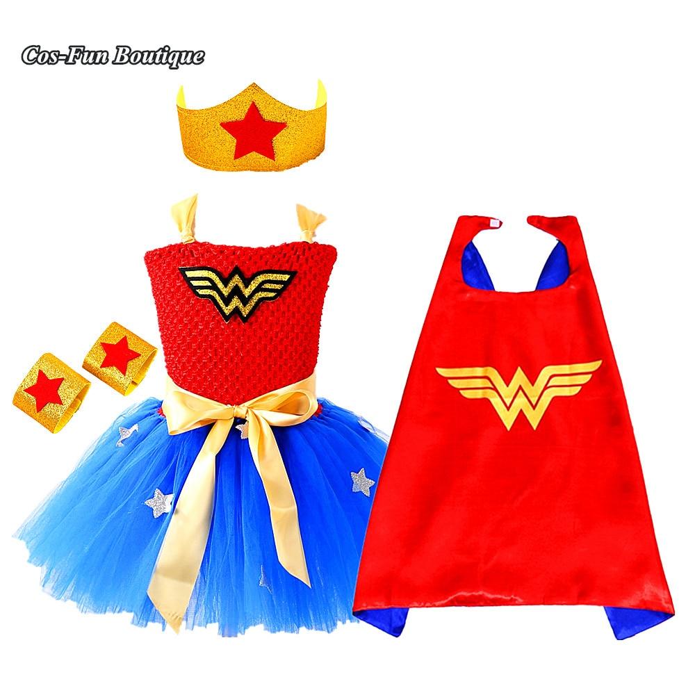 Wonder Woman Hero Costume Baby Girl Tutu Dress Redroyal Blue Popular Christmas Dress Halloween -8134