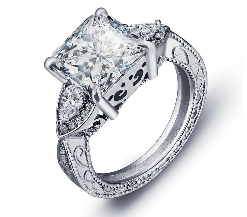 Choucong Модные украшения 925 серебро Принцесса Cut чистый белый 5A CZ партия Ретро Для женщин свадебные Обручение кольцо подарок