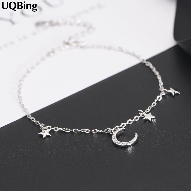 2018 New Fashion 925 Sterling Silver Moon Star Bracelet For Women Chain Bracelet Charms Pulsera Drop Shipping