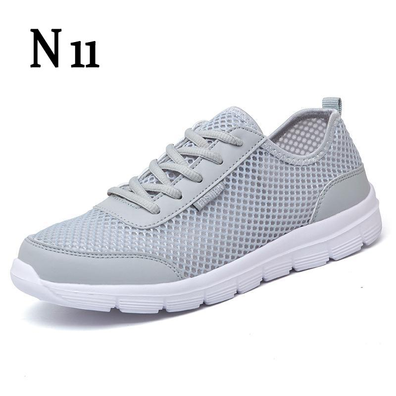 N11 Men Shoes 2017 Lovers Summer Fashion Breathable Men Casual Shoes Lace Up High Quality Flat Mesh Shoes Plus Size 35-44 men casual shoes lace up mesh men outdoor comfortable shoes patchwork flat with breathable mountain shoes 259
