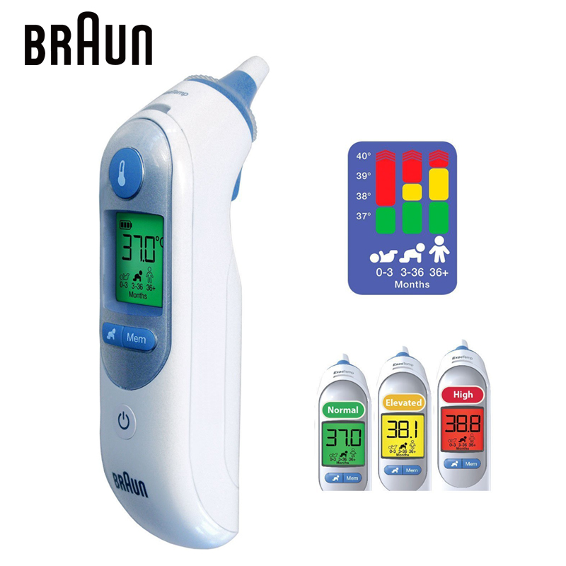 <font><b>Braun</b></font> Ear Thermometer Baby IRT6520 Digital LCD Body Accurate Fever Temperature Measurement Lens Filter Family Health Care