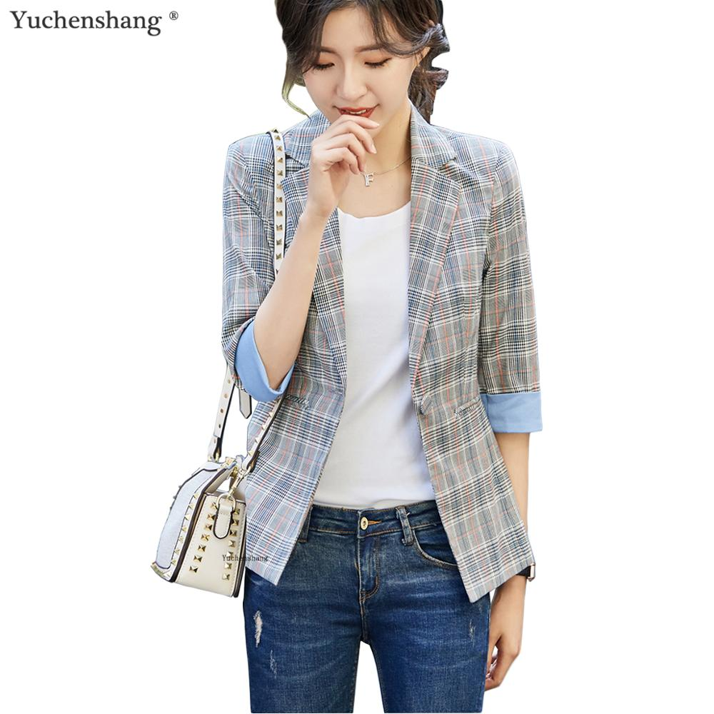 New Arrival Summer Women Striped Casual Blazers Girl Half Sleeve Fashion Notched Single Button Jackets