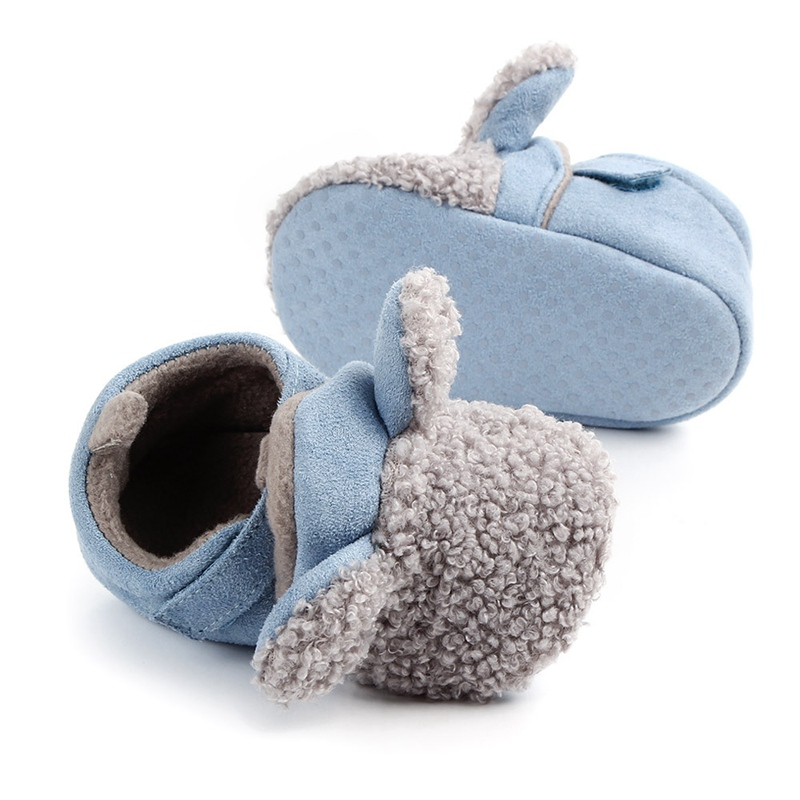 Купить с кэшбэком Baby Boys Crib Shoes Cartoon Slippers Infant Toddler Home Footwear Soft Sole Plush Warm Indoor loafers Shower Gift for Newborn