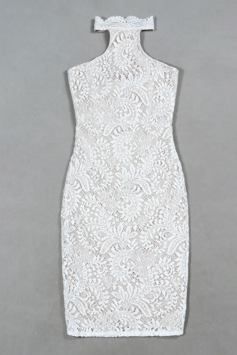 Club Halter De Soirée Imprimé Sexy Party Robe Femmes Bandage Robes Nouveau Évider Blanc Moulante D'été Dentelle FKzfy
