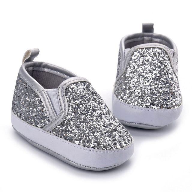 555bfebced46 Silver Sparkly Baby Boy Shoes Infant Girl Shoes Footwear Fashion Bling Soft  Sole Toddlers Girls Loafers