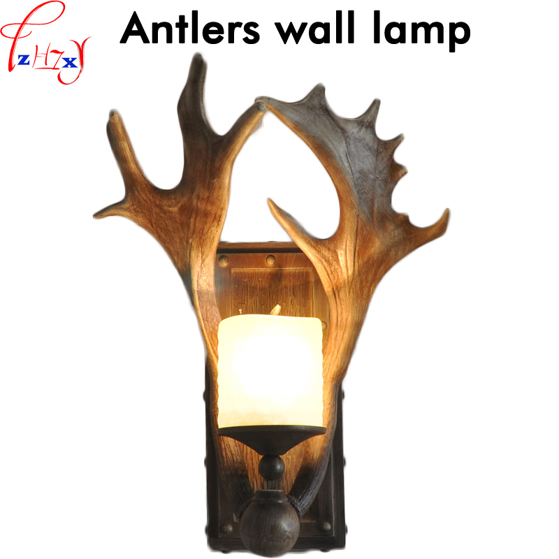 Antlers wall lamp resin LED lights hallway vintage bedroom lighting bar cafe decorative wall lights 111~240V 1PC 300l h 4w 8 led lights resin pottery lamp mini fountain pump