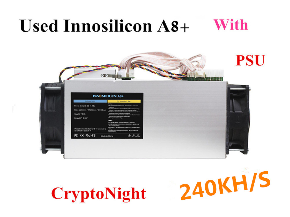 Used Innosilicon A8+ Cryptonight 240KH/S 480W With PSU BCN XMC XMO ETN Miner Better Than Antminer X3 S9 Z9 Z11 S15 WhatsMiner M3