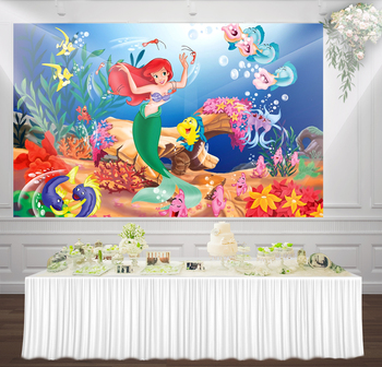 HUAYI little mermaid birthday party Backdrop under the sea photo background Turquoise girl princess photophone backdrops W-816