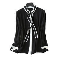 Lady S 2017 New Design Pure Silk Blouses Bow Tie Decor V Neck Single Breasted Stripe