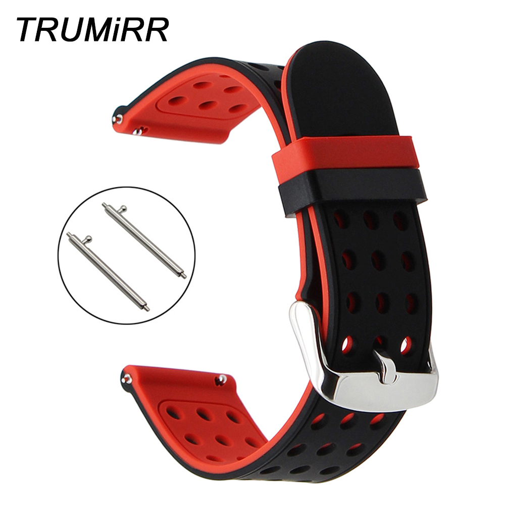 Double Color Silicone Rubber Watchband for Suunto 3 Fitness Smart Watch Band Quick Release Strap Steel Buckle Wrist Bracelet genuine leather watchband for suunto 3 fitness smart watch band quick release strap stainless steel clasp wrist bracelet