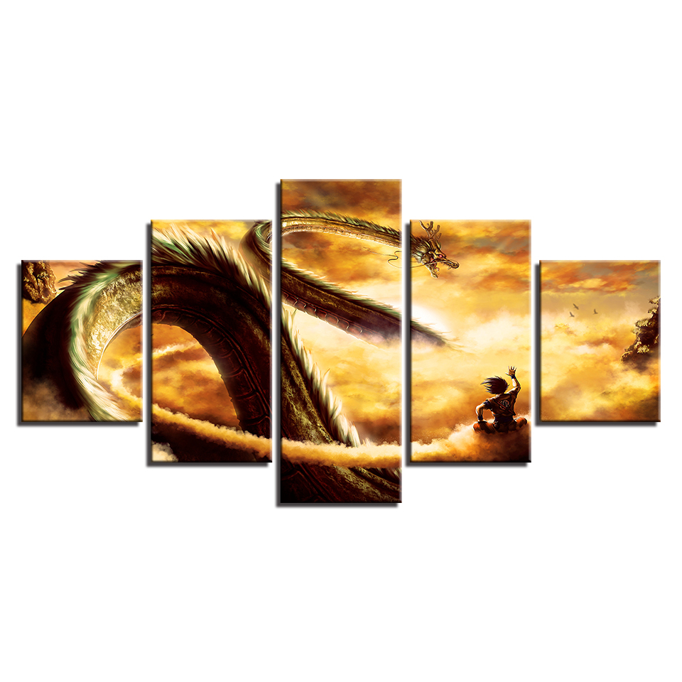 5 Pieces Cartoon Dragon Ball Z Paintings Goku Ride Shenron Poster ...