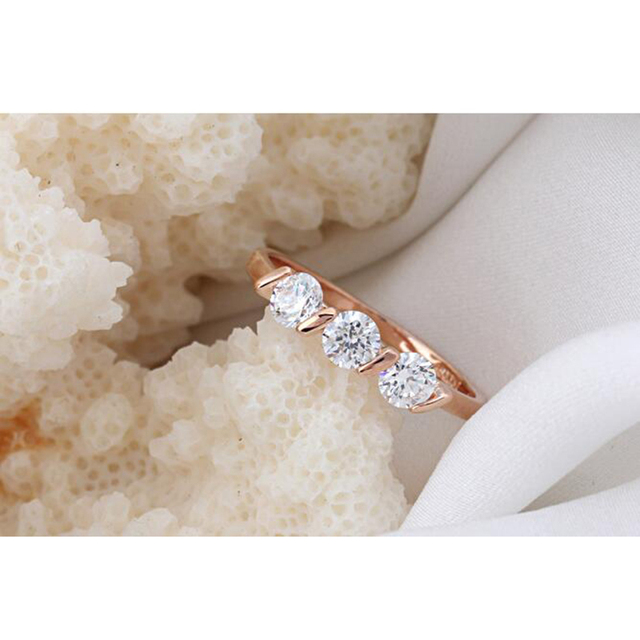 Romantic Style Zircon Gold Engagement ring Rose Gold and Silver