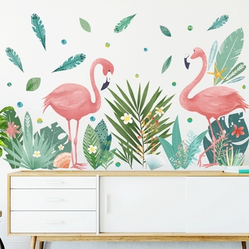 Nordic style Flamingo Couple Green Leaves Wall Stickers