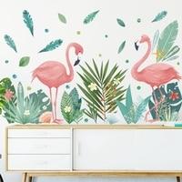Скандинавский стиль Фламинго пара зеленые листья наклейки на стену гостиная спальня детская комната Домашний Декор виниловые настенные на...