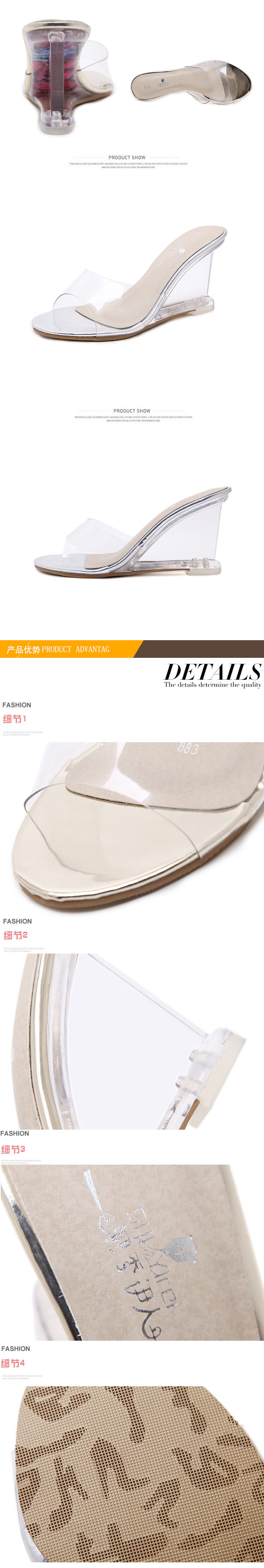 HOKSZVY Women Slipper High Heels Summer Summer Women's Shoes Word Buckle Simple Wedge Sandals Transparent Clear Shoes LFD-833-2