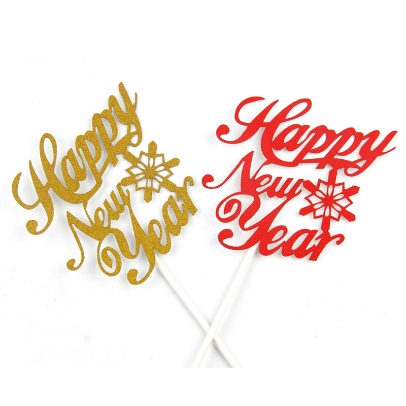 Cake Toppers Happy New Year Red Gold Birthday Love Cake Topper Cupake Flags Wedding Baby Shower DIY Decor Supplies Kids Party