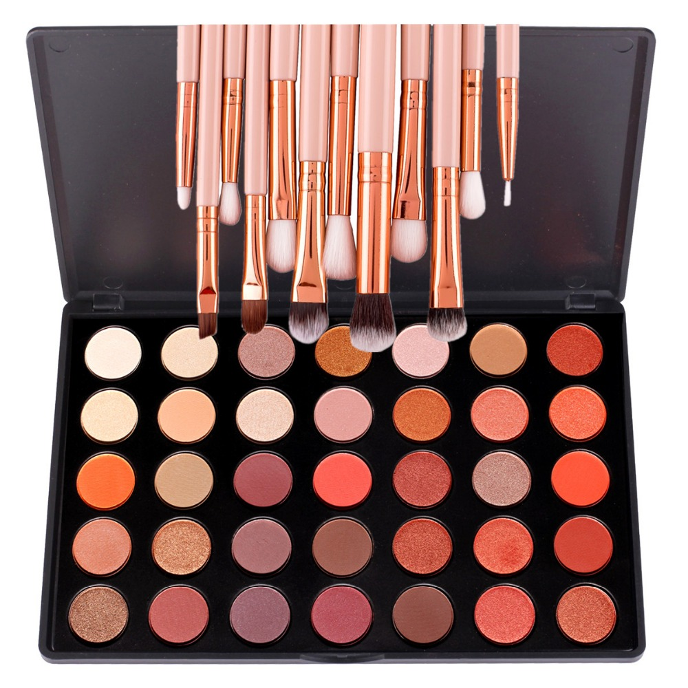 DE'LANCI 35 Colors Shimmer Matte Eye Shadow Professional Makeup Eyeshadow Palette With 12 Pcs Eye Brush Beauty Make Up Set