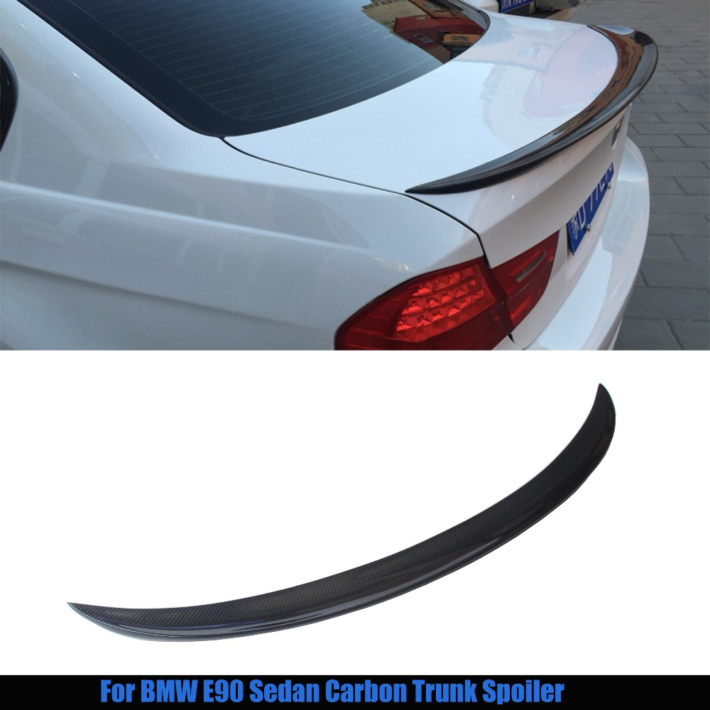 где купить  For bmw E90 spoiler E90 & E90 M3 carbon fiber rear trunk spoiler 318i 320i 325i 330i 2005 - 2011 E90 sedan rear wing spoiler CF  дешево