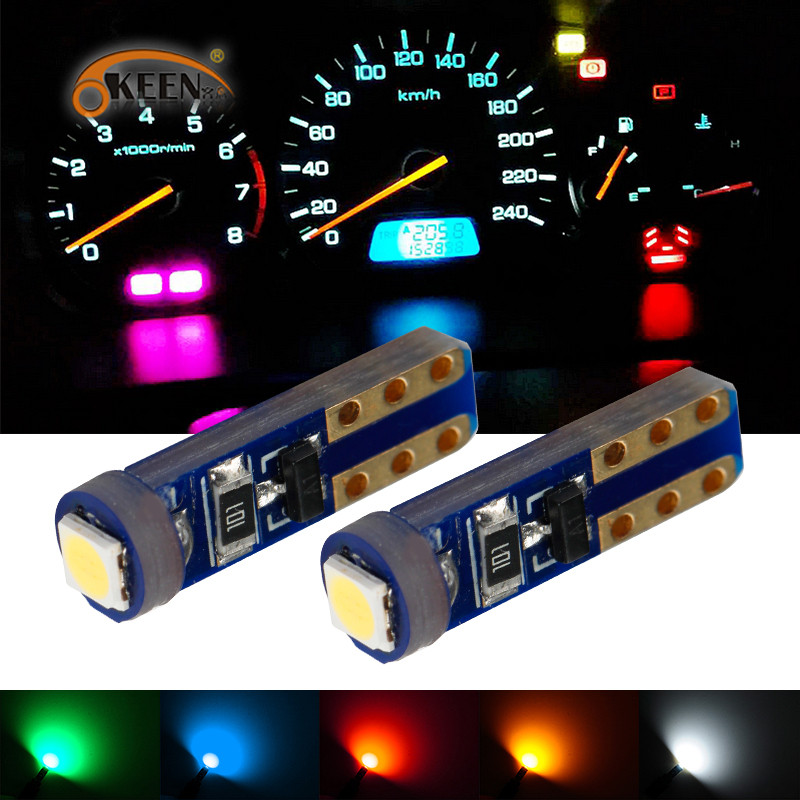 OKEEN 2pcs Car Interior <font><b>T5</b></font> <font><b>Led</b></font> 1 SMD DC 12V <font><b>24V</b></font> <font><b>T5</b></font> 3030 Bulbs Light Canbus White Wedge Side Instrument Lights Red Blue Yellow image