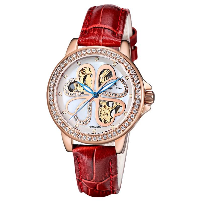 Royal Crown Automatic Mechanical Women's Watch Fine Fashion Lady Clock Steel Bracelet Leather Luxury Four-leaf Clover Gift Box джемпер hilfiger denim dm0dm00186 300 four leaf clover htr