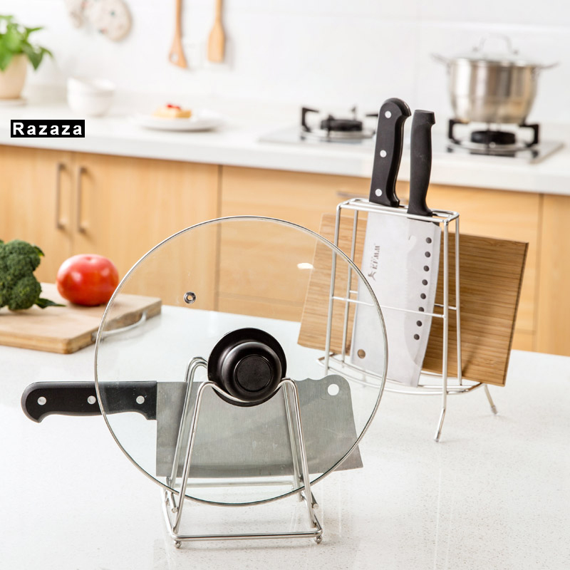 2 Tier Cutting Board Holder Kitchen Organizer Storage Rack Cover Stand Stainless Steel Dish Rack Cutting Boards pot Lid Stand