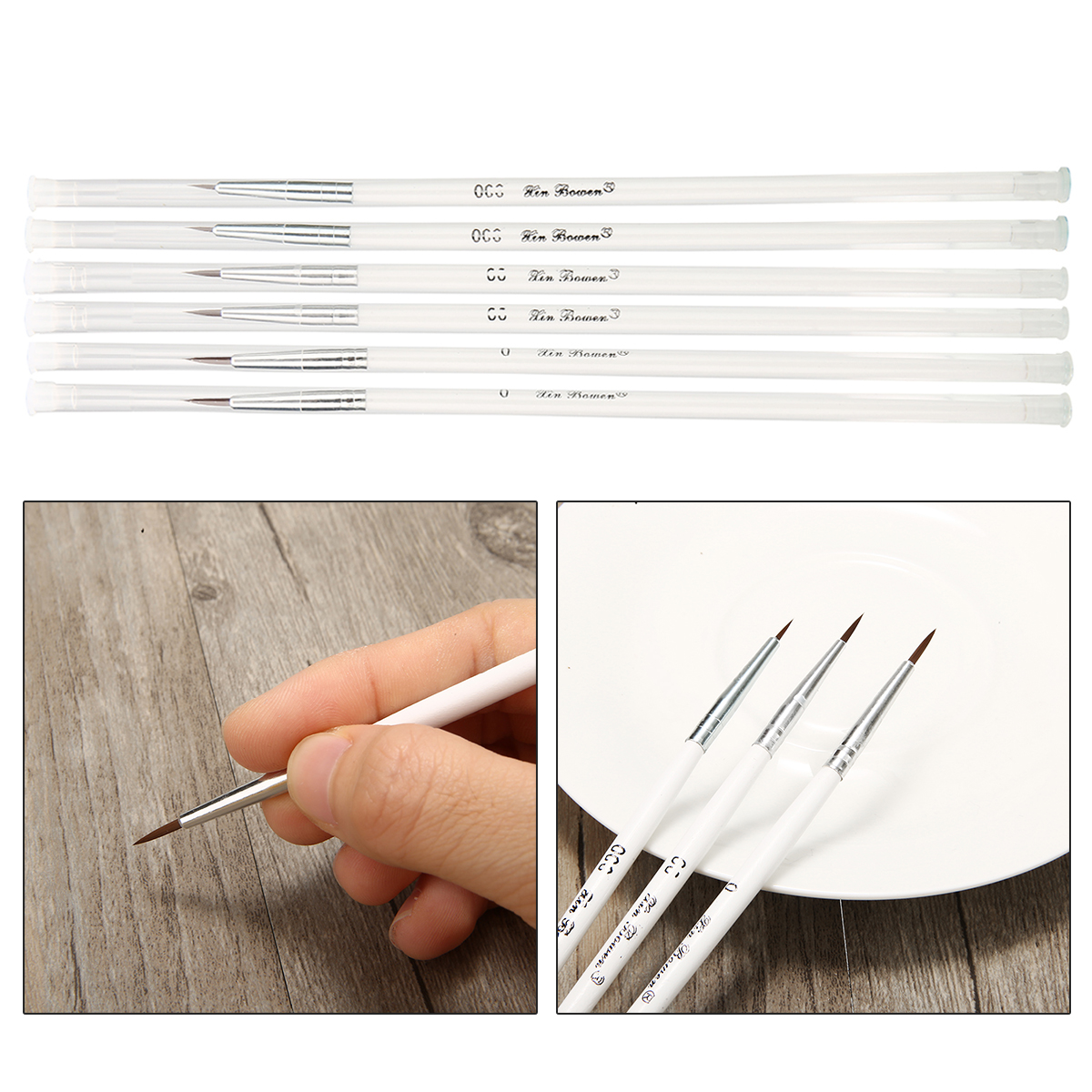 6 Piece Miniature Art Fine Detail Paint Brush Set For Detailing & Art Hand Drawn Painting Brush Pen Nylon Hair Wood Handle