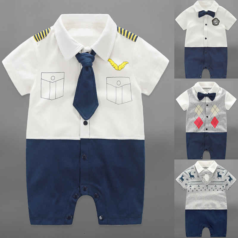 цена на Baby Rompers Summer Baby Boy Clothing Sets 2017 Newborn Baby Clothes Roupas Bebes Infant Jumpsuits Short Sleeve Kids Clothing