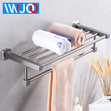 цена на Bathroom Towel Holder Stainless Steel Towel Rack Hanging Holder Single Towel Bar Wall Mounted Robe Corner Shelf Bath Accessories