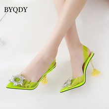 цены BYQDY Sweet Jelly Shoes Women Pointed Toe Sandals Neon Slingback Pumps Clear Transparent High Heels Crystal Rhinestone Shoes Big