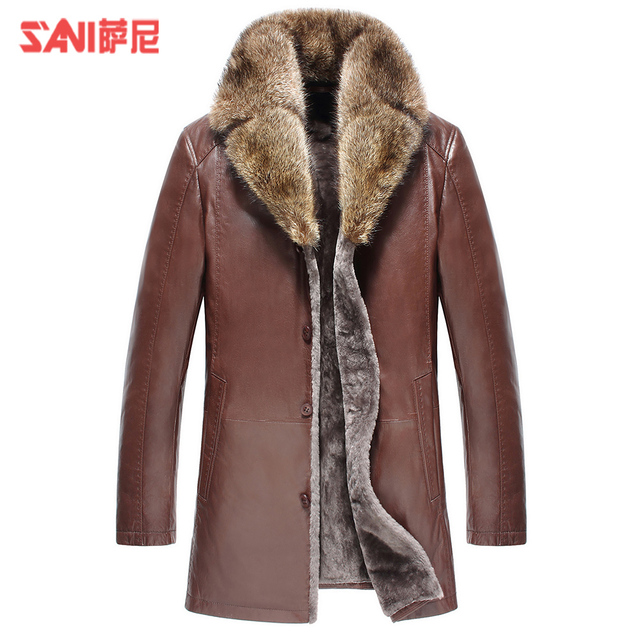 Luxury Goat Leather Shell clothing thick Sheepskin Fur Shearling fashion genuine leather suede overcoat male slim fur outerwear