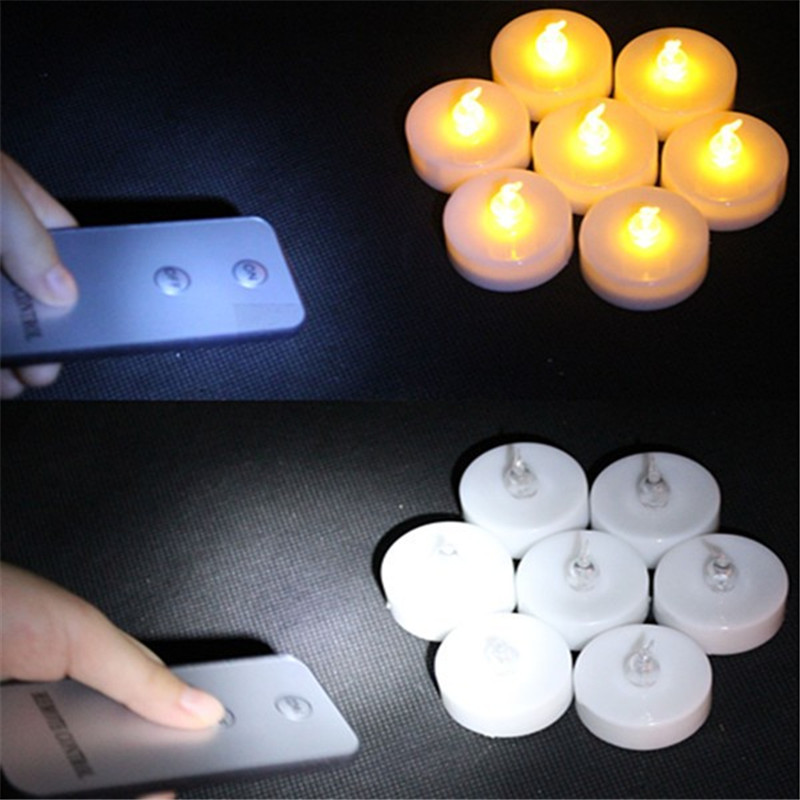Pack of 6 Electronic LED Candle Flickering Tea Light Amber Glow With Remote Control LED Candle Party Flameless