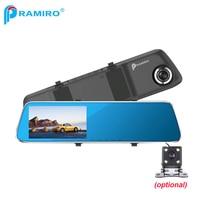 PRAMIRO 5inch Rear Camera Mirror Car DVR With Two Lenses NTK96658 Registrator Car Camera With WDR