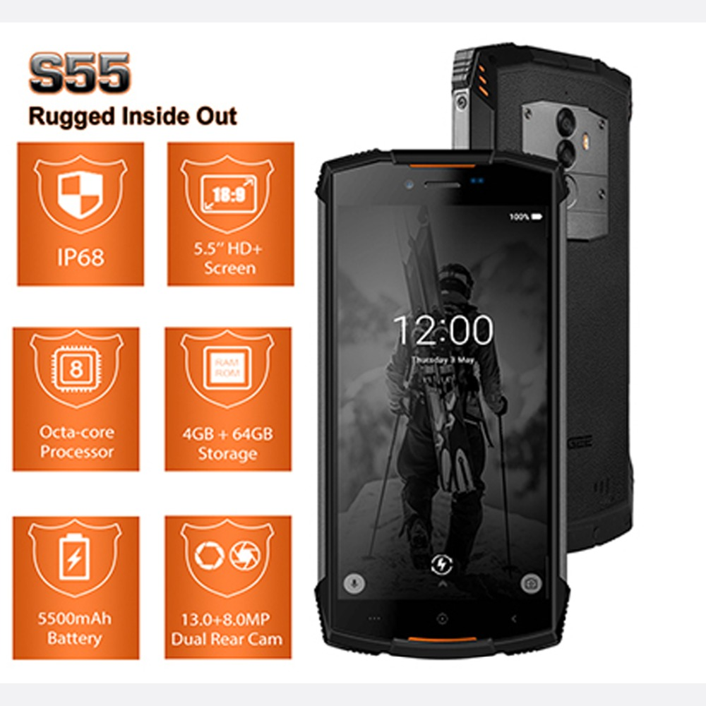DOOGEE S55 IP68 Waterproof Smartphone 4GB 64GB 5500mAh MTK6750T Octa Core 5.5inch Android 8.0 Dual SIM 13.0MP Volte OTA GPS Pho-in Cellphones from Cellphones & Telecommunications    2