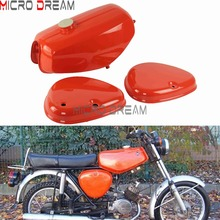 OEM Orange Banana Shape Motorcycle Gas Fuel Tanks With 2x Side Covers Protector For Simson S50/S51/S70 Steel Oil Petrol Tank Kit celebrat s50 orange