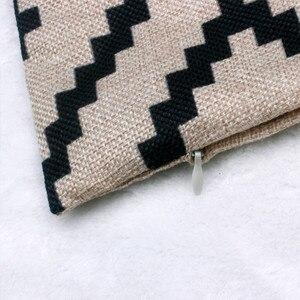 Image 4 - Funda de almohada con patrón geométrico moderno Simple 45cm * 45cm Lino nueva y de alta calidad funda de cojín hogar café decorativo