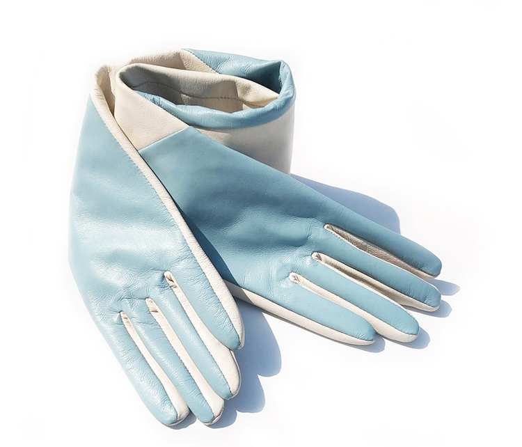 women custom made elbow long oblique two colors real leather gloves light blue amp beige in Women 39 s Gloves from Apparel Accessories