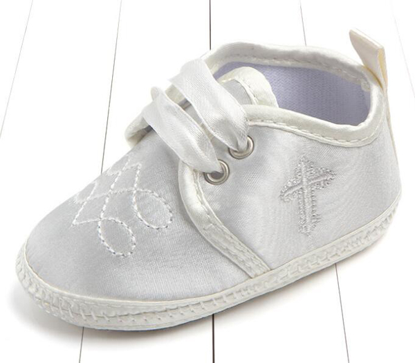 Baby Shoes Boys Newborn Champagne Satin Infant Shoes Prewalkers Girls Crib Shoes 2019 Autumn Christenning Wedding 0-18M Nonslip
