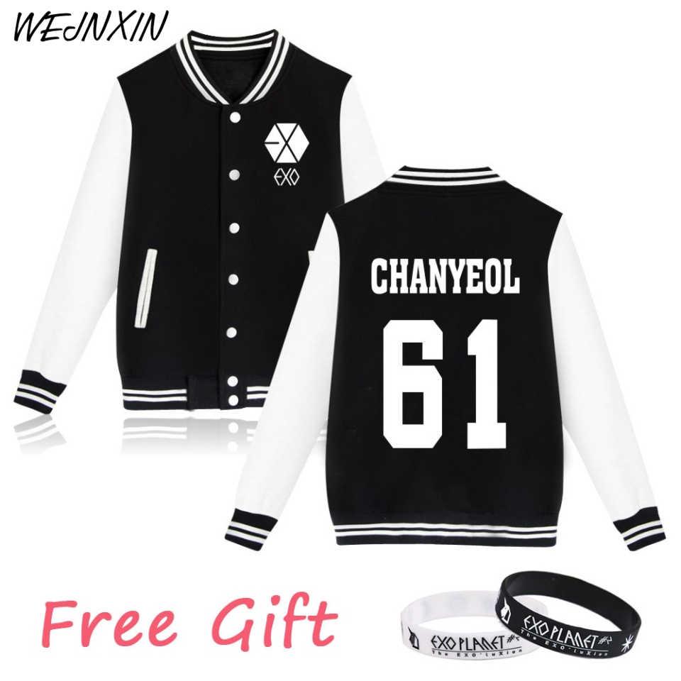WEJNXIN EXO Kpop Hoodies mujeres hombres Casual Unisex Fans apoyo chaqueta de béisbol nombre de miembro pareja Exo ropa regalo gratis
