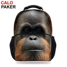 15 дюймов 3D Mochila рюкзак Обезьяна для ребенка Школьные ранцы животных для девочки зоопарк APE печати орангутанг сумка подросток рюкзак Для мужчин