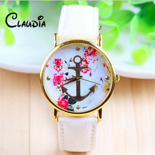 2016 New Arrival CLAUDIA Fashion Women's Fashion Leather Floral Printed Anchor Quartz Dress Wrist Watch FreeShipping Reloj Mujer