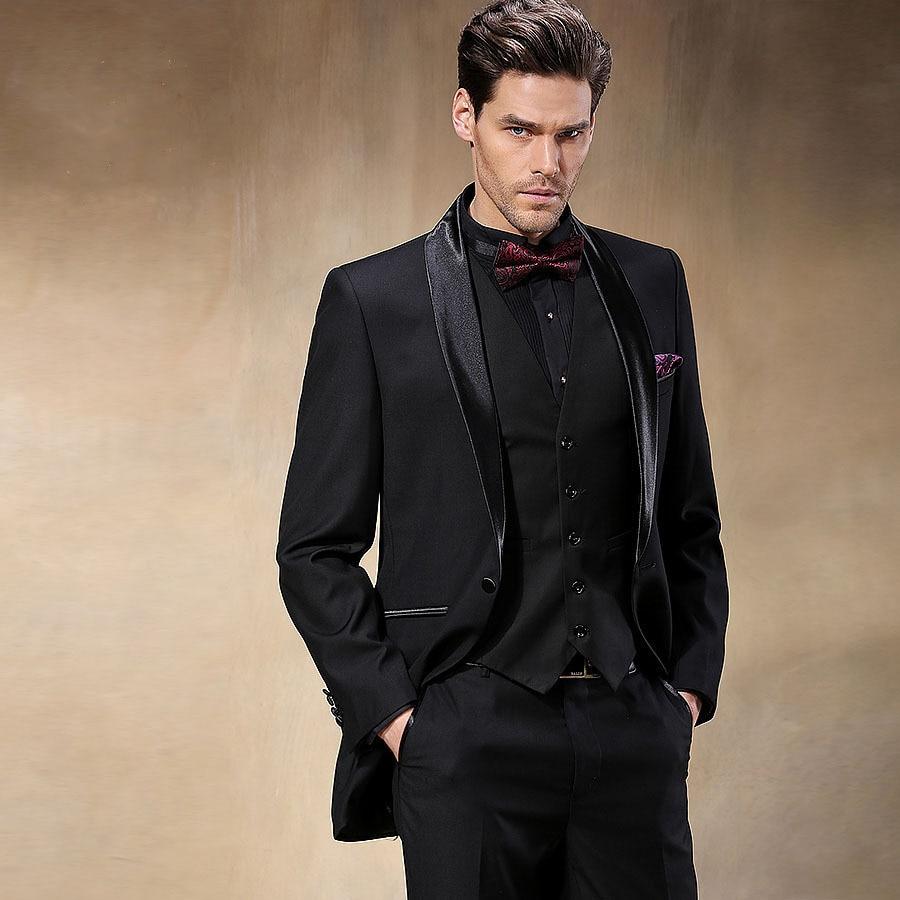 New Design Black Groom Wear Tuxedos Groomsmen Wedding Dress Man's ...