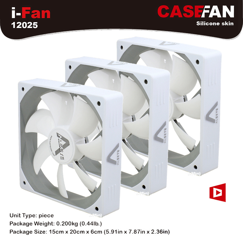 ALSEYE White Fan Cooler, 120mm Cooling Fan, (3pieces/lot) CPU Fan DC 12V 3pin 1500RPM 64CFM High Air Flow Silent Fans personal computer graphics cards fan cooler replacements fit for pc graphics cards cooling fan 12v 0 1a graphic fan