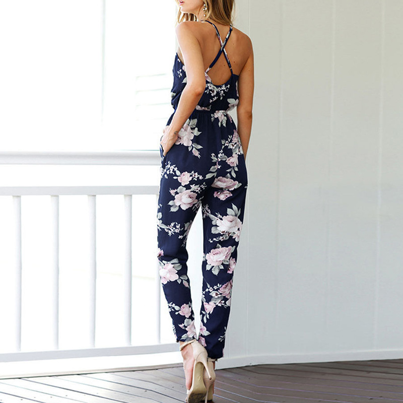 Women Sleeveless V-Neck Floral Printed Jumpsuit Playsuit Trousers Rompers Navy